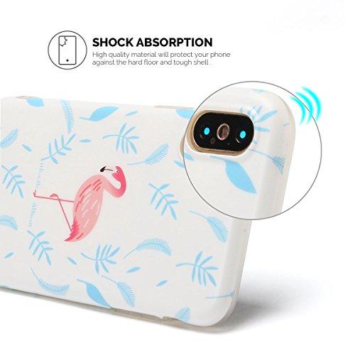 IPhone X Hülle, iPhone X Case, Apple X Handyhülle, Spiritsun Weiche TPU Hülle für Weihnachten Kawaii Cover Hochwertige Funkelnde Luminoso Hülle Elegante Flessibile Liscio Flamingo Protezione Hülle für Flamingo 1