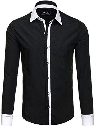 BOLF – Chemise casual – avec manches longues – Slim fit – Classique – Homme [2B2] Noir