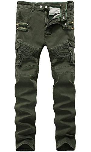HENGAO Herren zerstört zerrissene gerade Skinny Fit Biker Jeans mit Reißverschluss Deco - - 32W (Herren-skinny-jeans Zerstört)