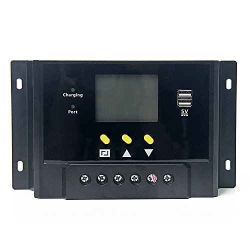 Signstek Solar Panel Regler Laderegler 12V / 24V 240W/480W 60A PWM LCD Display mit Dual USB für Camper / Wohnwagen / Boot