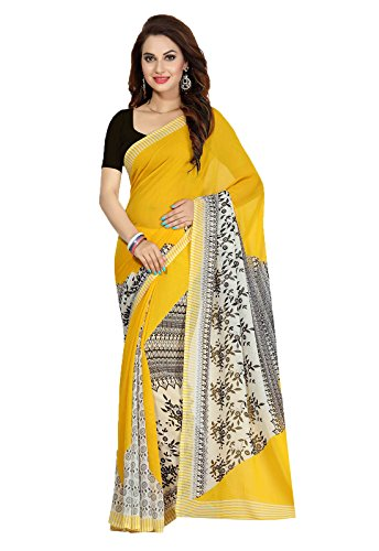 Ishin Faux Georgette Yellow Printed Party Wear Wedding Wear Casual Wear Festive Wear Bollywood New Collection Latest Design Trendy Women\'s Saree/Sari