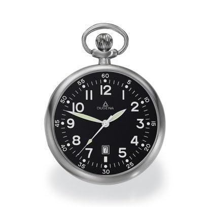 DUGENA-4288289-Taschenuhr-Lepine-mit-Kette-Uhr-Unisex-Edelstahl-Analog-Datum-schwarz