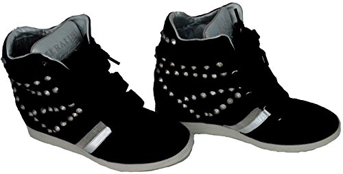 Scarpe Donna Zeppa Alta Pelle Serafini Manhattan Studded Black Special Edition Sneakers Shoes 2758