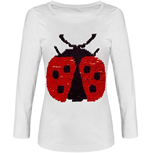 BEZLIT Mädchen Pullover Shirt Langarm Wende Pailletten 21514, Farbe:Weiß, Größe:116 (Kinder Pullover Weiße)