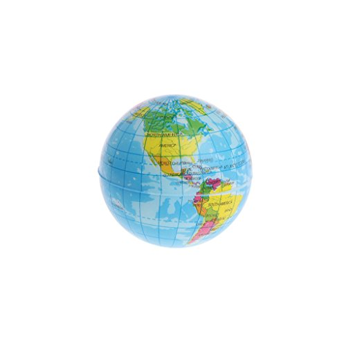 qingqingR PU Schaum Druck Ball Globus Squeeze Anti-Stress Dekompression Weltkarte Ball Planet Erde 6,3 cm 1 Stück