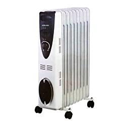 Portable 9 Fin 2000w Electric Oil Filled Radiator Heater With Thermostat Control