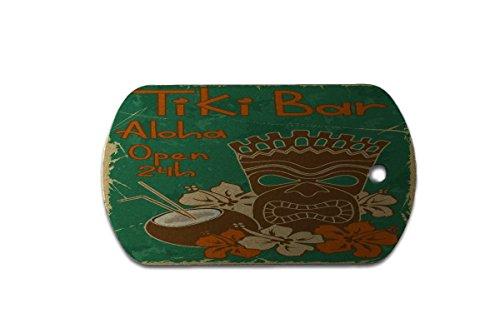 Hundemarke Erkennungsmarke Nostalgie Tiki Bar 24 Stunden bedruckt (24 Tikis)