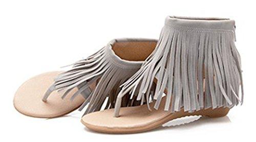Aisun Damen Troddel Offene Zehe Keilabsatz Reißverschluss Sandale Grau