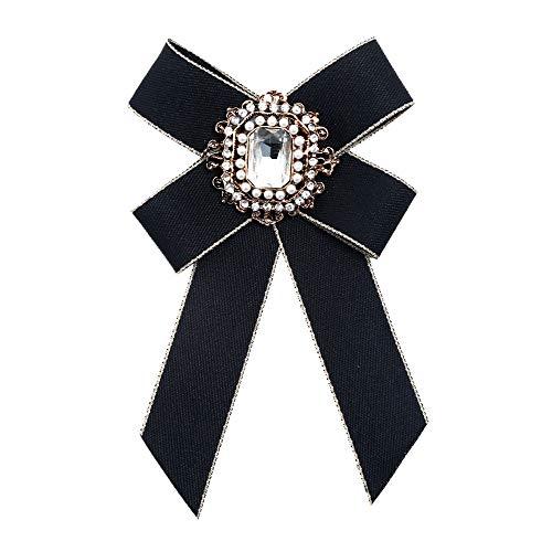 ysister Design di Spille intarsiato con fine zircone Distintivo Pin del Collare Ornamento Artigianale Accessori di Moda esagerato Tessuto Bow Tie Spille per la Festa di Nozze (Nero)
