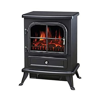 """Galleon Fires Original Black """"Sirius"""" Electric Stove - Electric Fires Stove Freestanding- Electric Stove Heater Stove Fire Places Fireplaces - With Log Flame Effect - Black"""
