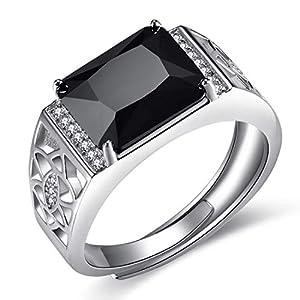 JIANGXIN Men's ring Luxus Gentleman Ring herren 925 Sterling Silber Verstellbar Silberring Öffnung Schwarze AAA Zirkonia Best Geschenk Für Männer