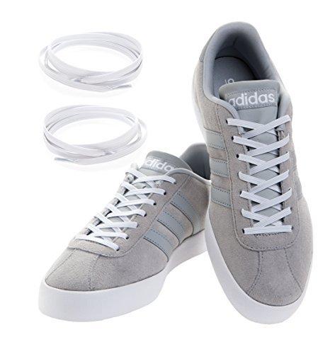MAXXLACES Flache elastische Schnürsenkel mit einstellbarer Spannung in verschiedenen Farben Schuhbänder ohne Binden komfortable Schuhbinden einfach zu bedienen Past zu jedem Schuh (weiss)