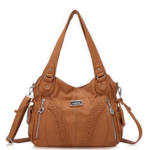 angel kiss Hobo Tasche Schultertaschen Handtaschen Umhängetaschen Henkeltaschen Fredsbruder Taschen Damen Weiches Leder (1555-Braun) -