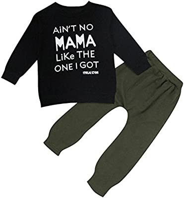 Le SSara Mamá de niños recién nacidos impresos camiseta y pantalones de deporte trajes de 2pcs