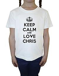 Keep Calm And Love Chris Blanco Algodón Niña Niños Camiseta Manga Corta Cuello Redondo Mangas White Girls Kids T-shirt