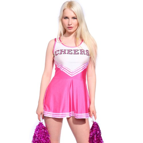 Damen Cheerleading Kostüm - Rosa Cheerleader Kostuem Uniform Cheerleading Cheer Leader mit Pompom Minirock GOGO Damen Maedchen Karneval Fasching