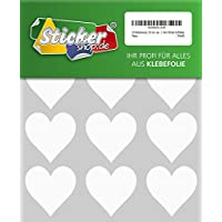 24Heart Weather Adhesive Hearts 50mm White PVC Film Sticker