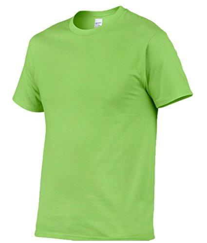 Smile YKK Kurzes Aermel Herren Männer Sommer Basis Poloshirt T-Shirt Kurzarmshirt Rundhals T-Shirt Tops Hellgrün