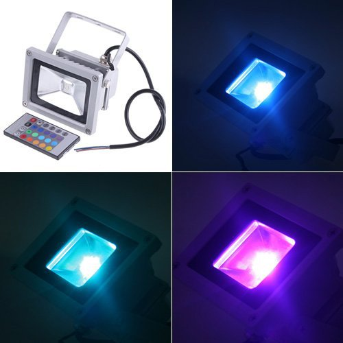 TOOGOO(R) Projecteur orientable exterieur impermeable de 10W LED Colore