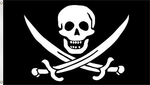 Fahne / Flagge mit zwei Metallösen zur Befestigung und zum Hissen - Größe 90 x 150 cm Farbe Pirat mit (Flagge Piraten)