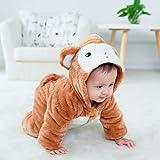 mikistory Baby Säugling Neugeborenes Brechen Schneeanzug Dick Winter Warm Tier Kapuzenpullover Brechen Braun AFFE 3-6Monate