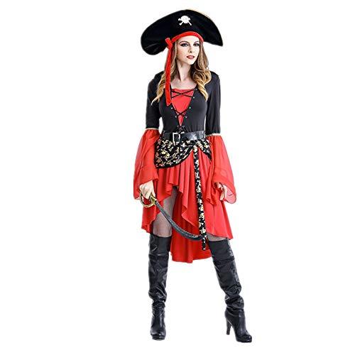 Mars Jun Piraten-Lady Kostüm Kleid für Cosplay Karneval Fasching Halloween Geburtstag (Lady Piraten Zombie Kostüm)