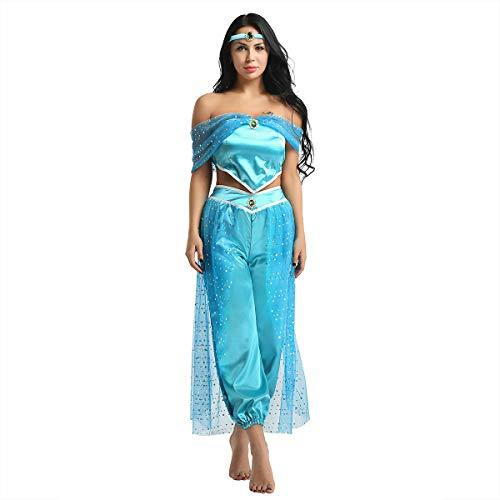 Alvivi 3Pcs Damen Prinzessin Kostüm Paillette Schulterfrei Ärmellos Top Hose Stirnband Set Karneval Fasching Cosplay Kostüme Blau - Blau Prinzessin Jasmin Kostüm