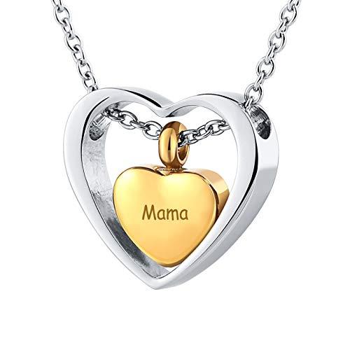 Daesar Urnen Halskette Edelstahl mit Gravur Mama Asche Herz Anhänger Kette Gold Memorial Halskette