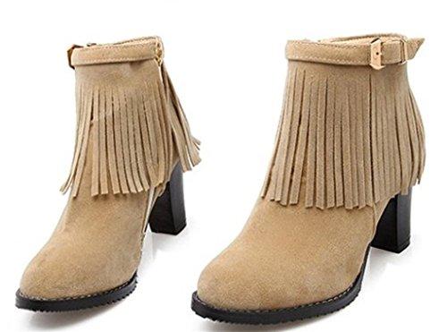 DZW Femmes en daim à talons hauts Tassel Round Head avec Bowtie Party Dress Boots personnalité
