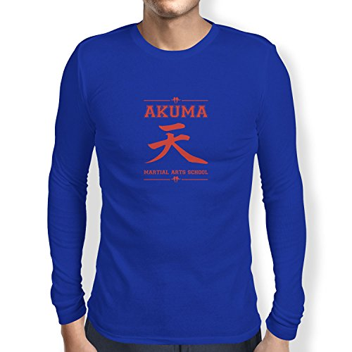 NERDO - Akuma Martial Arts School - Herren Langarm T-Shirt, Größe XXL, (Warrior Demon Kostüm)