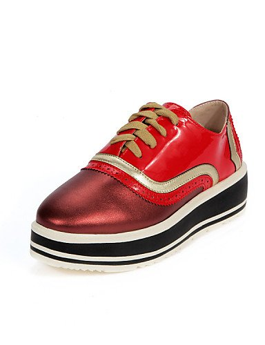 ZQ hug Scarpe Donna-Mocassini-Tempo libero / Casual-Plateau / Creepers / Punta arrotondata-Plateau-Finta pelle-Nero / Rosso , red-us8 / eu39 / uk6 / cn39 , red-us8 / eu39 / uk6 / cn39 red-us6.5-7 / eu37 / uk4.5-5 / cn37