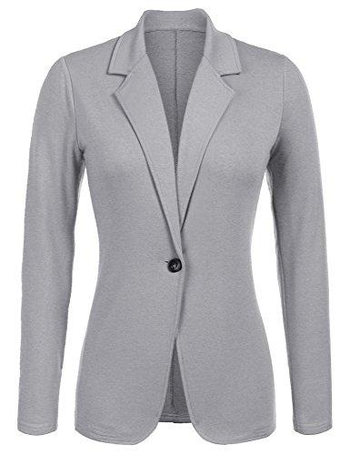 Parabler Damen Blazer Tailliert Elegant Business Jacke Anzugjacke Jersey Jäckchen Grau L