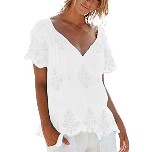 Andouy Mode Stickerei Bandage T-Shirt Oberteile(3XL(46).Weiß) -