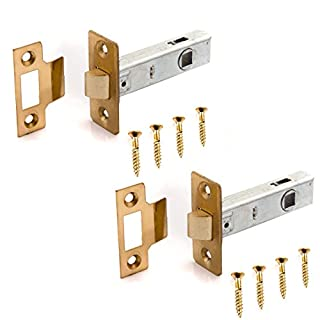 2x Brass Mortice Tubular Latches For Internal Doors | 3