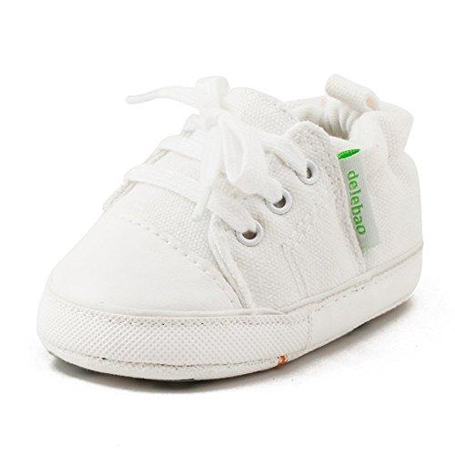 DELEBAO Krabbelschuhe Lauflernschuhe Erste Wanderer Schuhe Baby Segeltuchschuhe Weiche Sohle Babyschuhe Säuglingskleinkind für Baby Mädchen Baby Jungen (Weiß,12-18 Monate)