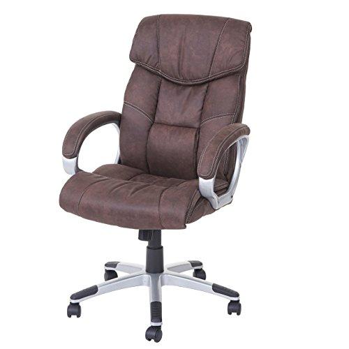 Mendler Bürostuhl HWC-A71, Chefsessel Drehstuhl Schreibtischstuhl, Stoff/Textil ~ Wildlederimitat braun