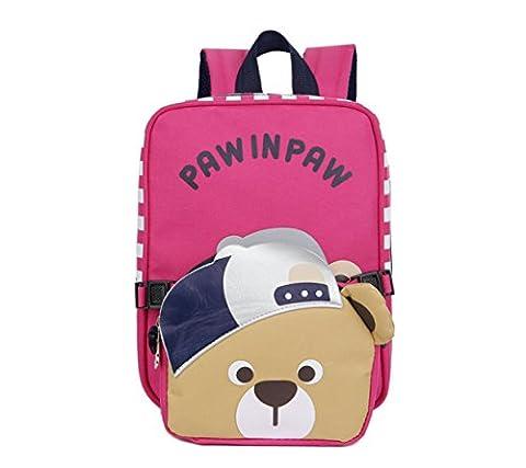 Gwell Sac à dos Enfant Maternelle Bébé Ours avec un chapeau Rosé