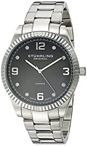 Stuhrling Original Classique Allure Men's Quartz Watch with Black Dial Analogue Display and Silver Stainless Steel Bracelet 607G.02