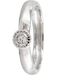 Stack Ring Co, Star Struck, Sterling Silver,Matt Finished Band With Round Bezel Set White CZ Prima Stack Ring Design