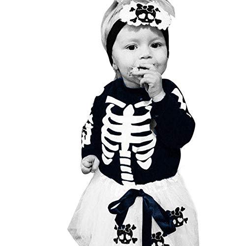 Yanhoo Baby Halloween Kostüm Outfits, Kinder Jungen Mädchen Langarm Skelett Drucken Bodysuits Strampler Overall+ Schädel Applique Tüll Festzug Festlich Kleid + Leg Set 3 Stück Bekleidungsset