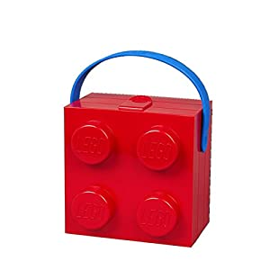 Lunch Box W. Handle (4 Knob) - Classic, Bright Red