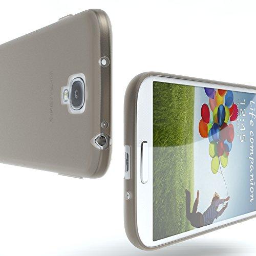 Samsung Galaxy S4 / S4 Neo Hülle - EAZY CASE Ultra Slim Cover TPU Handyhülle Matt - dünne Schutzhülle aus Silikon in Dunkelblau Matt Hellgrau