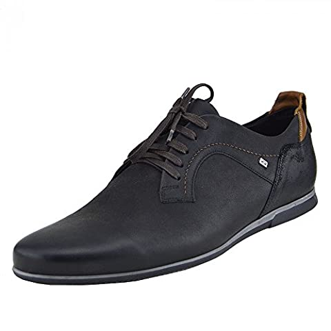 Kick Footwear - Giatoma Niccoli Casual Genuine Leather Black Mens Shoes - UK 11 / EU 45, Black