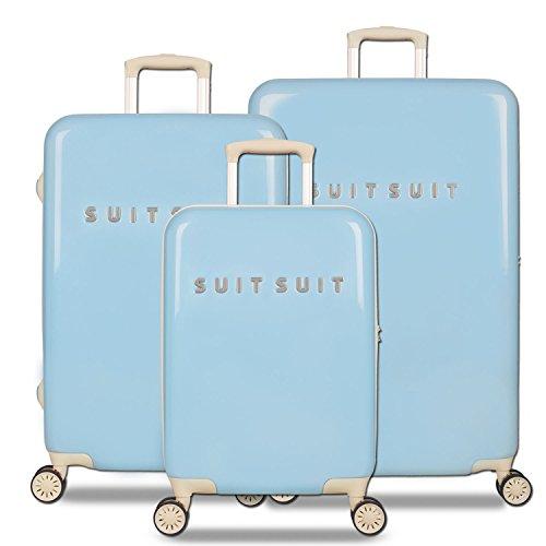 SuitSuit Fabulous Fifties 4 Doppel-Rollen 3er Koffer-Set Trolley-Set Rollkoffer Reisekoffer, TSA, (S, M & L), (Baby Blue)