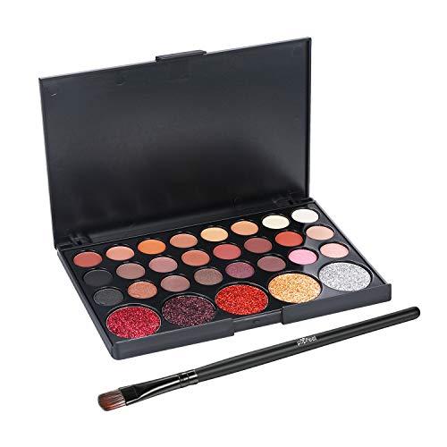 Lidschatten Palette Glitzer 29 Farben Eyeliner Eyeshadow Matt Lang Haltbar Kosmetik Vtrem mit Make-up Pinsel Set Nudetöne Augen Schmink