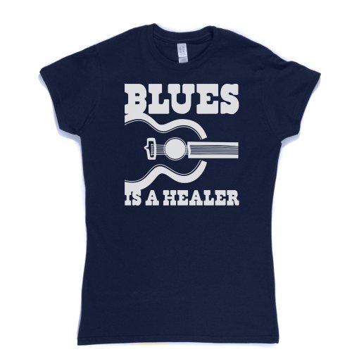 Blues is a Healer Womens Fitted T-shirt Marineblau