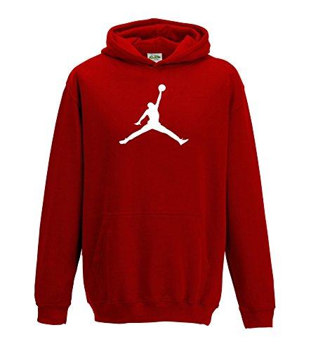 Juko Jordan Hoodie Basket Ball Michael Bulls air nba unisex. Red, Medium