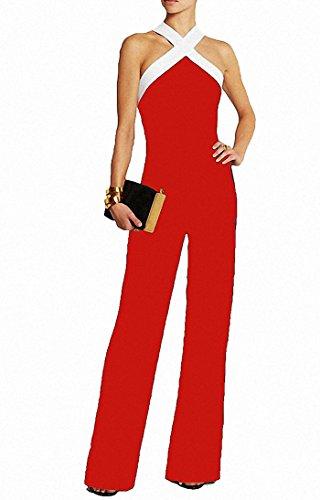 c1ef7aae23edaa Damen Schwarz Festlich Elegant Rot Jumpsuit Gürtel Ärmellos breit Bein Overall  Catsuit Clubwear Kleidung