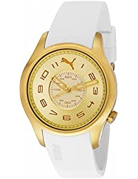 Puma PU103022003 Women's Sports Boost Small Gold Dial Gold Plated Steel White Rubber Strap Watch