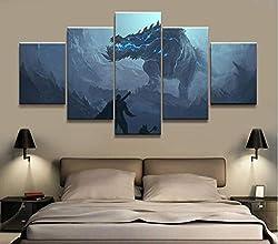 Loveygg Leinwanddrucke Wohnkultur Modulare Leinwand Bild 5 Stück Devilgho Monster Hunter Spiel Malerei Poster Wand Home Leinwand Malerei,100x55cm
